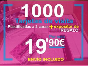 1000 tarjetas de visita mas expositor imprimir economico